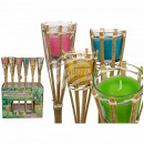 Bamboo Torch with Citronellakerze in glass, c