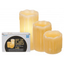 Creamy real wax candle with warm, yellow LED