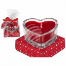 Scented candle (rose) in a glass, heart shape, ca.