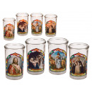 Candle in glass with religious motives