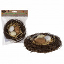 Rattan wreath with 3 plastic eggs about 14 cm, in
