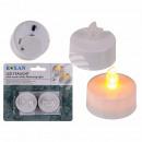 Tealight meleg, fehér LED-es villogó fény (beleért