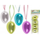 Plastic easter eggs, metallic, about 6 cm, 4-color