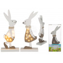 White / brown wooden rabbit with 7 warm white LED,