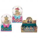 Polyresin Glitter Ball with Bear & Happy Birth