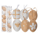 Plastic Easter eggs with ribbon, approximately 6 c