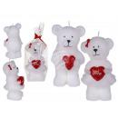 Biała świeca, niedźwiedź z sercem, około 12 x 6 cm