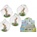 Glass ball with Easter bunny & grass, ca. 8 cm