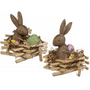 wholesale Garden Furniture: Polyresin rabbit  in a rattan nest, approx. 17 x 18