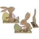 Wooden rabbit with Easter egg, approx. 14.5 x 5 x