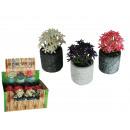 grossiste Pots de fleurs & Vases: Pot motif pierres  avec fleurs, 3 couleurs ass., 12