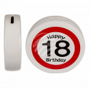 Ceramic money box with Happy Birthday 18, ca. 13.5