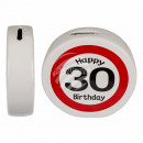 Ceramic Money Box with Happy Birthday 30, ca. 13,5