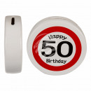 Ceramic money box with Happy Birthday 50, ca. 13,5