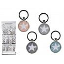 grossiste Porte-cles: Porte-clés en  métal, étoile, environ 6,5 x 3,5 cm