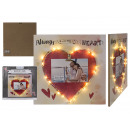 Wooden picture with red heart with clip holder