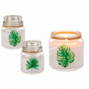 White scented candle (white cotton) in glass with