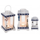 wholesale Wind Lights & Lanterns: Wood / metal lantern, maritime, about 22.5 cm x 13