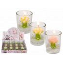 Candle in glass, bouquet of roses, about 5.5 x 7 c