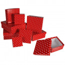 wholesale Business Equipment: Red gift boxes with white dots, ca. 22,5 x 22,5 x