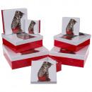 Boîte cadeau rouge/blanc, Chat, env. 22,5 x 22,5 x