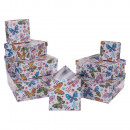 wholesale Business Equipment: White gift box with multicoloured butterfly & flow