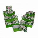 Green Gift Box, Flamingo & Leaves, ca. 2