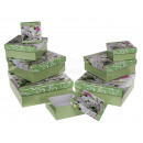 wholesale Business Equipment: Green gift box, flower design, approx. 22.5 x