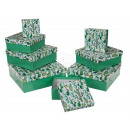 Green gift box with cactus, about 22.5 x 22