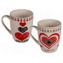 New Bone China Mug, Heart, about 9 x 8.5 cm, 2-f