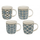 Nuova tazza Bone China con decoro blu, ca.10 x 8,