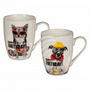 New Bone China tazza, con il cane Happy Birthday ,