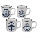Stoneware mug, Maritime, approx. 9 x 8 cm, 3x sor