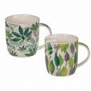 New Bone China Mug, Tropical Leaves, about 9 x 9 c