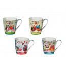 grossiste Tasses & Mugs: Mug New Bone China  multicolore, Chouette, env. 9 x