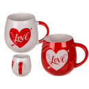 Stoneware mug, Love, for about 420 ml, 2-colored s