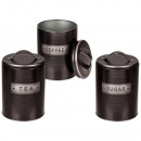 Black Round Metal Tin, Coffee, Tea & Sugar s