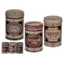 Runde Metall-Dose, Coffee, Tea & Sugar