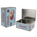 Rectangular metal tin, donuts, about 22 x 16 x 9 c