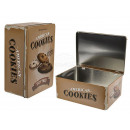 Rectangular metal tin, cookies, about 22 x 16 x 9
