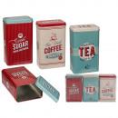Prostokątna metalowa puszka, nostalgia (kawa, herb