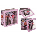 Square metal tin with window, make up