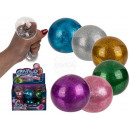 Squeeze glitter ball, about 7 cm, 6 colored assort