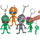 Metal key chain, squeeze alien