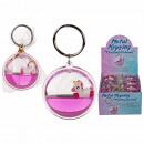 Metal key ring, floating unicorn, approx