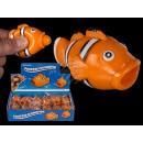 Großhandel Spielwaren: Squeeze-Clownfish,  Pop Tongue, ca. 7 cm, 12 Stück