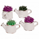 wholesale Artificial Flowers: Candle, succulent, in ceramic watering can