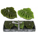 Candle, leaves, 8 x 6 x 2 cm, set of 3, in PVC box