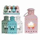 Pastel-colored metal lantern with butterfly &