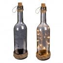 Großhandel Dekoration: Rauch-Glasflasche  mit 10 warmweißen LED, Korkversc